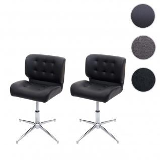 2x Esszimmerstuhl HWC-H42, Drehstuhl Küchenstuhl, höhenverstellbar drehbar ~ Kunstleder schwarz, Chromfuß