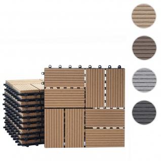 WPC Bodenfliese Rhone, Holzoptik Balkon/Terrasse, 11x je 30x30cm = 1qm ~ Premium, teak Vierecke