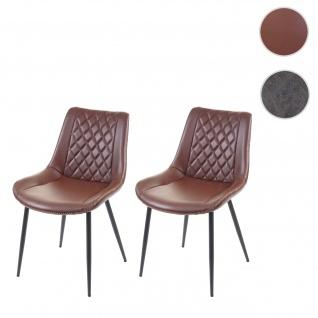 2x Esszimmerstuhl HWC-E56, Stuhl Küchenstuhl, Vintage Kunstleder braun