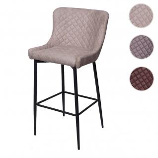 Barhocker HWC-H79, Barstuhl Tresenhocker, Vintage Metall Fußablage ~ Stoff/Textil grau