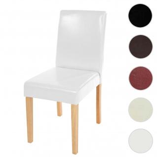 Esszimmerstuhl Littau, Küchenstuhl Stuhl, Leder ~ weiß, helle Beine