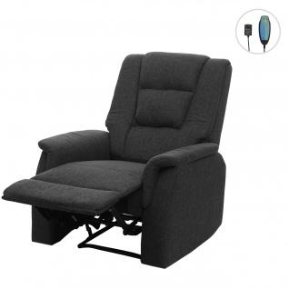 Fernsehsessel HWC-F23, Relaxsessel Liege Sessel, Stoff/Textil 102x79x96cm grau ohne Massage- und Wärmefunktion