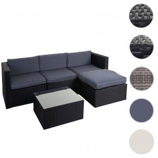 Poly-Rattan-Garnitur HWC-D28, Gartengarnitur Sofa Set ~ anthrazit, Polster grau ohne Deko-Kissen/Abdeckung