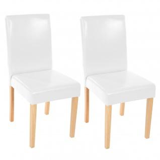 2x Esszimmerstuhl Stuhl Küchenstuhl Littau ~ Kunstleder, weiß, helle Beine