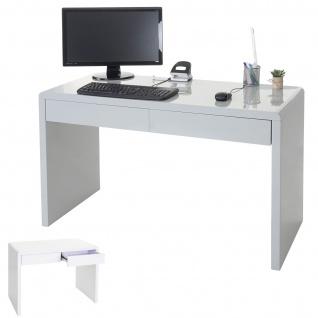 Design Schreibtisch Edmonton, Bürotisch Computertisch, hochglanz 120x50cm, FSC-zertifiziert weiß