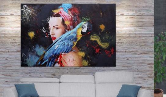 Ölgemälde Frau HWC-H25, Leinwandbild Wandgemälde Gemälde, handgemaltes XL Wandbild ~ 80x120cm