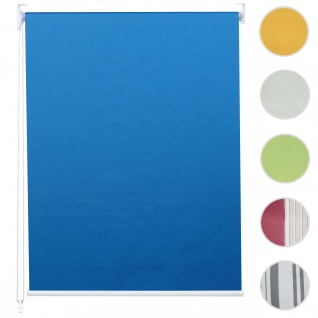 Rollo HWC-D52, Fensterrollo Seitenzugrollo Jalousie, Sonnenschutz Verdunkelung blickdicht 120x160cm ~ blau