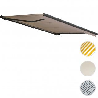 Elektrische Kassetten-Markise T122, Vollkassette Volant 4x3m ~ Polyester Sand, anthrazit
