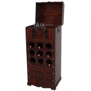 Weinregal Calvados T253, Flaschenregal Regal Holzregal für 9 Flaschen, Kolonialstil 104x45x38cm - Vorschau 1