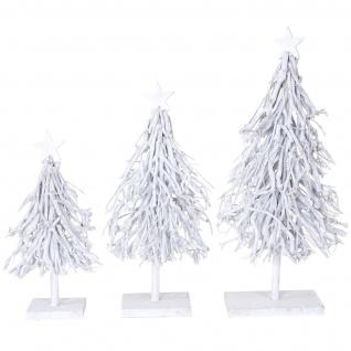 3er Set Dekobäume, S+M+L Weihnachtsbaum Christbaum Dekotanne 60/28/12cm weiß-grau - Vorschau 3
