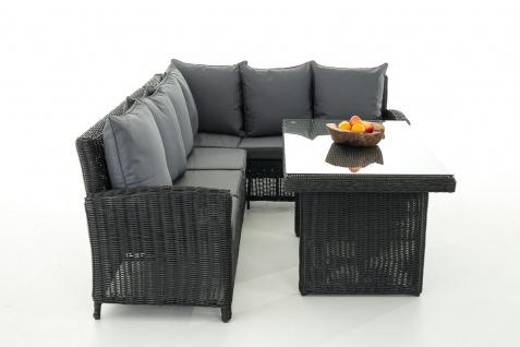 Sofa-Garnitur CP056, Lounge-Set Gartengarnitur, Poly-Rattan ~ Kissen eisengrau, schwarz