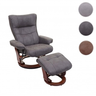 MCA Relaxsessel Montreal, Fernsehsessel Hocker, Stoff/Textil 130kg belastbar ~ dunkelgrau, walnussfarben