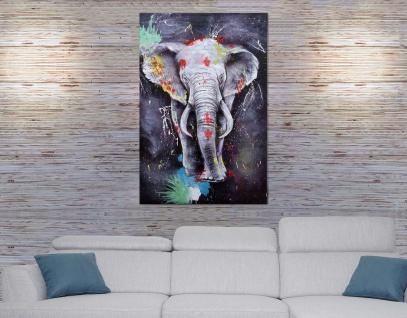 Ölgemälde Elefant HWC-H25, Leinwandbild Wandgemälde Gemälde, handgemaltes XL Wandbild ~ 120x80cm