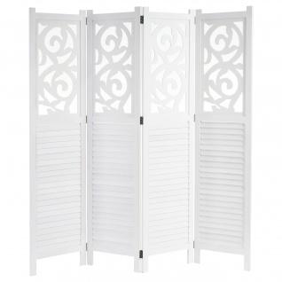Paravent, Raumteiler Trennwand, Ornamente ~weiß 170x161cm