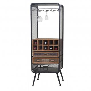 Weinregal HWC-C91, Flaschenregal Barschrank Weinständer für 10 Flaschen, Tanne Holz Vintage 157x57x38cm