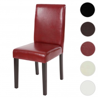 Esszimmerstuhl Littau, Küchenstuhl Stuhl, Kunstleder ~ rot, dunkle Beine