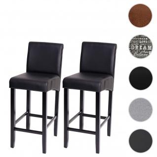 2x Barhocker HWC-C33, Barstuhl Tresenhocker, Holz ~ schwarz matt, dunkle Beine, Kunstleder