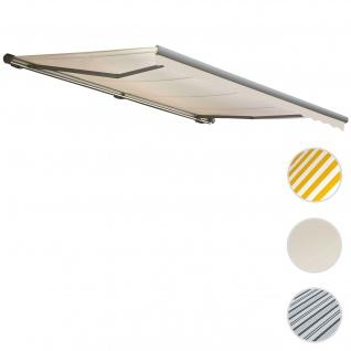 Elektrische Kassettenmarkise T123, Markise Vollkassette mit Volant 4, 5x3m ~ Polyester Creme, Rahmen