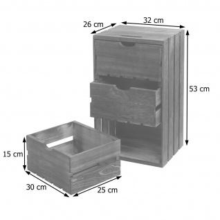 Kommode HWC-C62, Schubladenkommode Holzkiste, Shabby-Look Vintage 3 Schubladen 53x32x26cm ~ braun - Vorschau 4