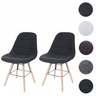 2x Esszimmerstuhl HWC-A60 II, Stuhl Küchenstuhl, Retro 50er Jahre Design ~ Stoff/Textil dunkelgrau