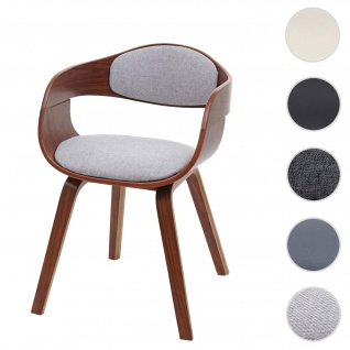 Esszimmerstuhl HWC-A47, Holz Bugholz Retro-Design Walnussoptik ~ Stoff/Textil, hellgrau