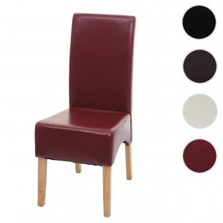 Esszimmerstuhl Latina, Küchenstuhl Stuhl, Leder ~ rot, helle Beine