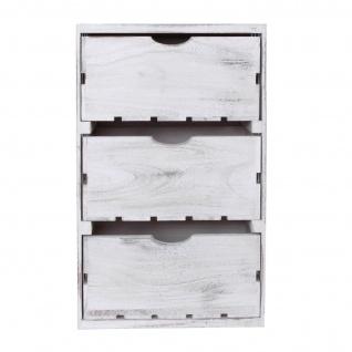 Kommode HWC-C62, Schubladenkommode Holzkiste, Shabby-Look Vintage 3 Schubladen 53x32x26cm ~ weiß - Vorschau 5