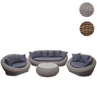 4-1-1 Poly Rattan Garnitur HWC-F88, Lounge-Set Sofa, halbrundes Rattan Alu-Gestell oval ~ grau, Kissen dunkelgrau