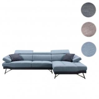 Sofa HWC-H92, Couch Ecksofa L-Form 3-Sitzer, Liegefläche ~ rechts, blau-grau