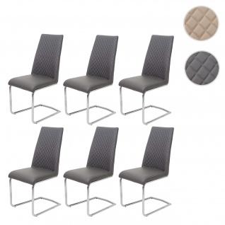 6x Esszimmerstuhl HWC-F31, Stuhl Küchenstuhl Freischwinger, Kunstleder ~ dunkelgrau
