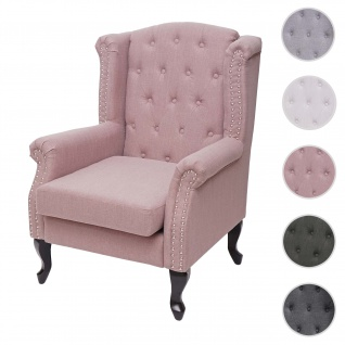 Sessel Chesterfield, Relaxsessel Clubsessel Ohrensessel, wasserabweisend Stoff/Textil ~ vintage rosa ohne Ottomane