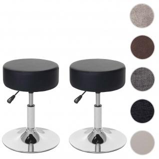 2x Hocker HWC-C22, Sitzhocker Schminkhocker, höhenverstellbar Ø 35cm ~ Kunstleder, schwarz
