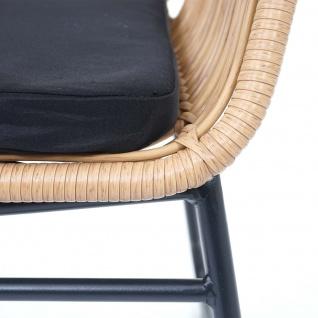 Polyrattan Garnitur HWC-G17a, Gartengarnitur Sofa Set Sitzgruppe ~ naturfarben, Polster anthrazit mit Dekokissen - Vorschau 5