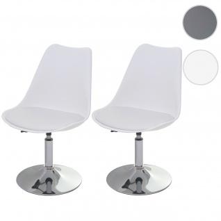 2x Drehstuhl Malmö T501, Stuhl Küchenstuhl, höhenverstellbar, Kunstleder weiß, Chromfuß
