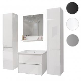 Badezimmerset HWC-B19, Waschtisch Wandspiegel 2x Hängeschrank, hochglanz weiß