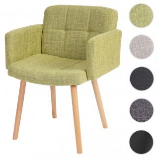 Esszimmerstuhl Orlando II, Stuhl Küchenstuhl, Retro-Design ~ Textil, hellgrün