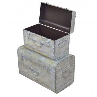 2er Set Metalltruhe H172, Truhe Schatztruhe Aufbewahrungstruhe, Vintage, 32x52x28cm