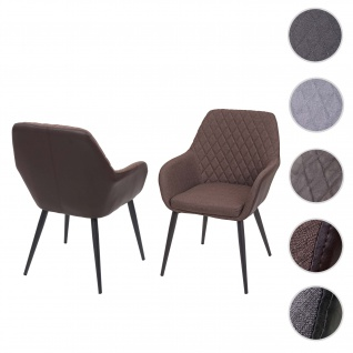 2x Esszimmerstuhl HWC-D35, Stuhl Küchenstuhl, Stoff/Textil Retro ~ Kunstleder vintage braun