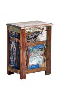 Beistelltisch CP331, Nachttisch Telefontisch Kommode, Teakholz, Shabby-Look Vintage, 58x45x30cm