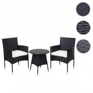 Poly-Rattan Balkonset HWC-G27, Sitzgarnitur Gartengarnitur, 2xSessel+Tisch ~ anthrazit, Kissen creme