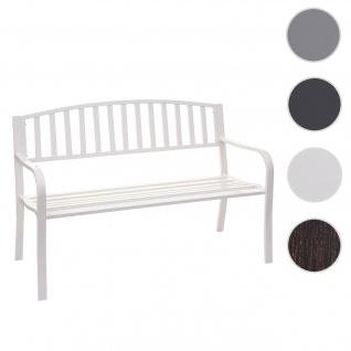 Gartenbank HWC-F43, Bank Parkbank Sitzbank, 2-Sitzer pulverbeschichteter Stahl ~ weiß