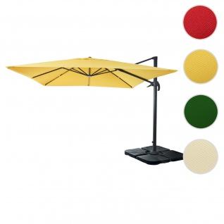 Gastronomie-Ampelschirm HWC-A96, Sonnenschirm 3x3m (Ø4, 24m) Polyester Alu/Stahl 23kg ~ gelb mit Ständer