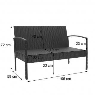 Poly-Rattan Garnitur HWC-F56, Balkon-/Garten-/Lounge-Set Sitzgruppe ~ braun, Kissen dunkelgrau - Vorschau 3