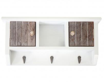 Schlüsselbrett HWC-A48, Schlüsselkasten Schlüsselboard mit Türen, Massiv-Holz ~ shabby braun-weiß - Vorschau 4