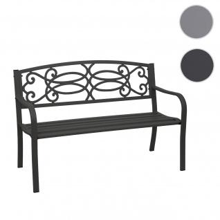 Gartenbank HWC-F44, Bank Parkbank Sitzbank, 2-Sitzer pulverbeschichteter Stahl schwarz