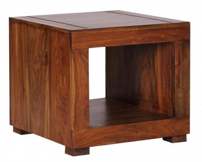 Beistelltisch Malatya, Couchtisch Wohnzimmertisch, Sheesham Massivholz, 45x50x50cm