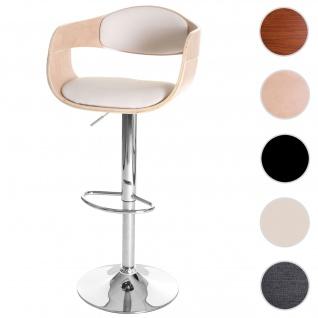 Barhocker HWC-A47, Barstuhl, Holz Bugholz Retro-Design ~ Buche-Optik, Kunstleder creme