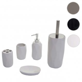 5-teiliges Badset HWC-H88, WC-Garnitur Badezimmerset Badaccessoires, Keramik ~ weiß