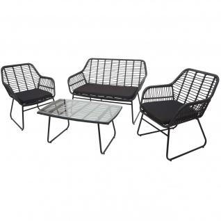 Polyrattan Garnitur HWC-G17a, Gartengarnitur Sofa Set Sitzgruppe ~ anthrazit, Polster anthrazit ohne Dekokissen - Vorschau 2