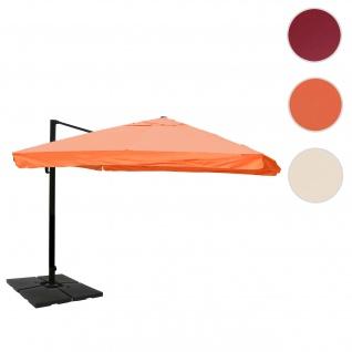Gastronomie-Ampelschirm HWC-A96, Sonnenschirm, 3x4m (Ø5m) Polyester/Alu 26kg ~ Flap, terrakotta mit Ständer